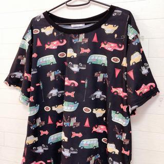 ディズニー(Disney)の新品 4L/カーズ cars ディズニー 総柄Tシャツ 大きいサイズ(Tシャツ(半袖/袖なし))