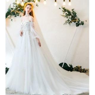 27b9063df6629 ウエディングドレス ホワイト オフショルダー Aライン シースルー袖 ミニトレ(ウェディングドレス)