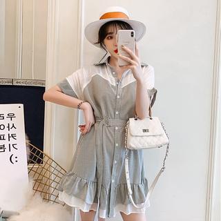 【即購入OK】大きいサイズ  フリル裾ワンピース (ミニワンピース)