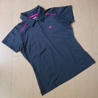 アディダス(adidas)のアディダス レディース半袖ポロシャツ 黒 M ラウンドウェア(ウエア)