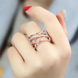 今人気 シルバー925 18金 コーティング 編み デザイン リング k18 (リング(指輪))