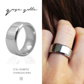 リング 指輪 フラットシャイニー シルバー ステンレス  平打 鏡面 メンズ(リング(指輪))