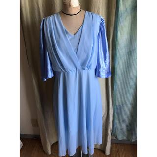 used 水色ジョーゼットドレス XLサイズ(その他ドレス)