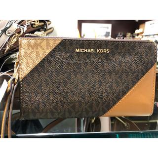 マイケルコース(Michael Kors)のマイケルコース 三色トリカラー 折りたたみ財布 ブラウン(財布)