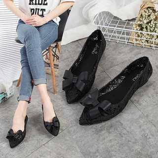 リボンが可愛い♡ラバーシューズ フラットシューズ レインパンプス 黒(レインブーツ/長靴)