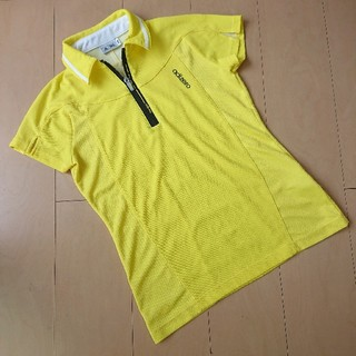 アディダス(adidas)のアディダス レディース 半袖ハーフジップポロシャツ 黄色 ラウンドウェア(ウエア)