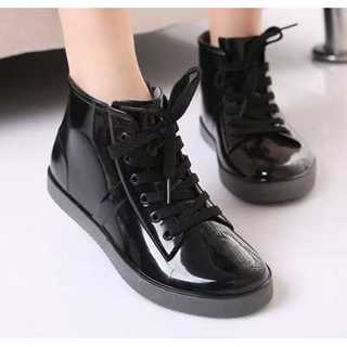 【新品】レディース レインブーツ ショート シューズ 黒 長靴 22.5cm(レインブーツ/長靴)