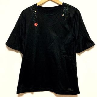 フェイラー(FEILER)のフェイラー FEILER Tシャツ カットソー トップス お花 刺繍 服 L 黒(Tシャツ(半袖/袖なし))