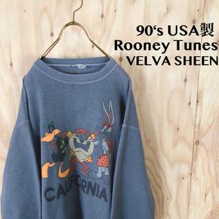 90's USA製 ルーニーチューンズ 染込みプリント VELVA SHEEN (スウェット)