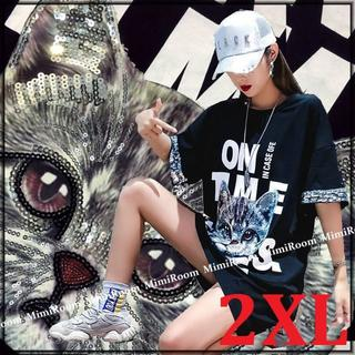 ~2L【大きいサイズ】スパン&ネコちゃんプリント☆Tシャツチュニック(Tシャツ(半袖/袖なし))