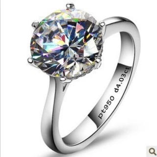 新品 レディース 4ct sonaダイヤモンド 925シルバー リング 11号✨(リング(指輪))