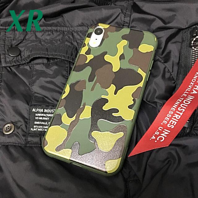 アイフォンXR iPhoneXRソフトケース☆カモフラ☆グリーン☆送料無料の通販 by ロゴ's shop|ラクマ