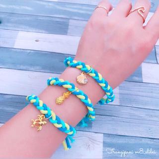 【残り1点!!】colorful bracelet𓇼ヘアゴム*ブルーイエロー