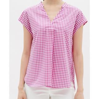 ジーユー(GU)のジーユー スキッパーシャツ チェック M(シャツ/ブラウス(半袖/袖なし))