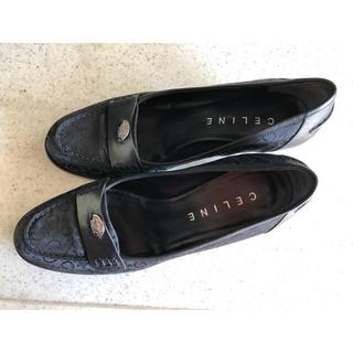 セリーヌ(celine)のセリーヌ 黒 ローファー  キャンバス×革コンビ(ローファー/革靴)