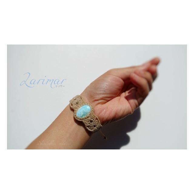 ラリマー*マクラメブレスレット ハンドメイドのアクセサリー(ブレスレット/バングル)の商品写真