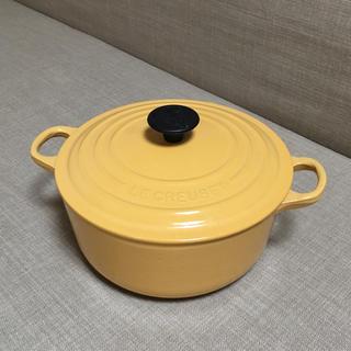 ルクルーゼ(LE CREUSET)のル・クルーゼ ココットロンド20cm レアカラーイエロー ユーズド品(鍋/フライパン)