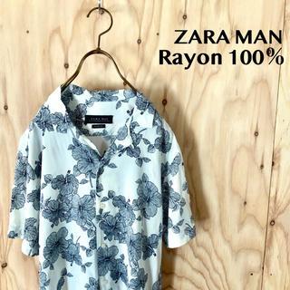 ZARA - 【美品】ZARA MAN 総柄 レーヨン100% オープンカラーシャツ アロハ