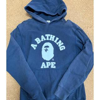 アベイシングエイプ(A BATHING APE)の激安Mサイズ!初期 BAPEカレッジ猿プルオーバーパーカー紺色(パーカー)