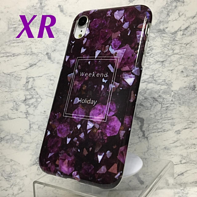 アイフォンXR iPhoneXRソフトケース☆大理石調☆パープル☆送料無料の通販 by ロゴ's shop|ラクマ