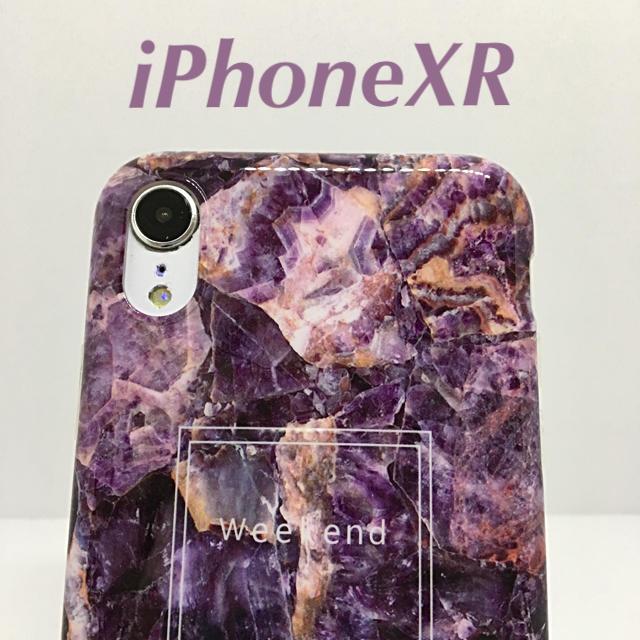 アイフォンXR iPhoneXRソフトケース☆大理石調☆ライトパープル☆送料無料の通販 by ロゴ's shop|ラクマ