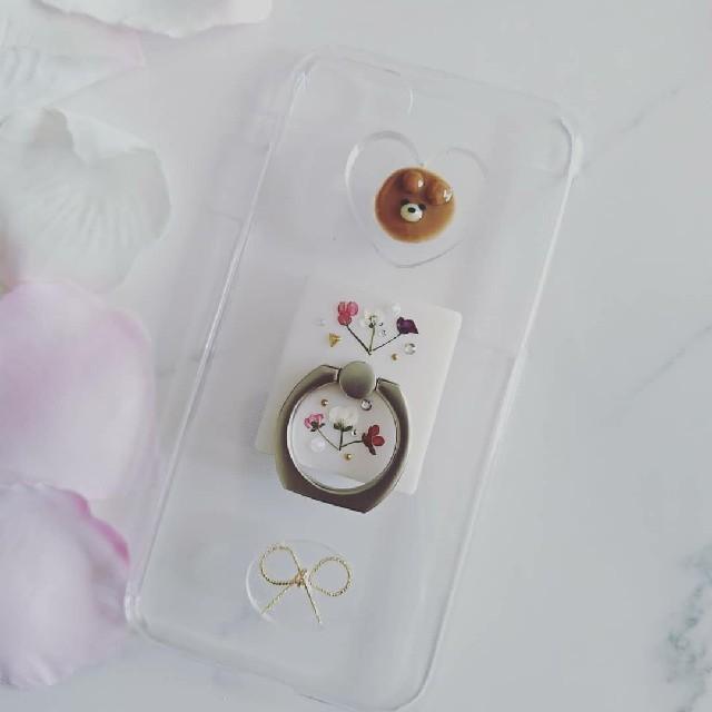 iPhoneケース ハンドメイド ハートの中のクマちゃんとアリッサムの押し花の通販 by RSI's shop|ラクマ