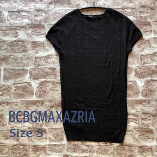 ビーシービージーマックスアズリア(BCBGMAXAZRIA)のBCBG MAXAZRIA 黒サマーセーター ☆ フレンチスリーブ☆サイズS(ニット/セーター)