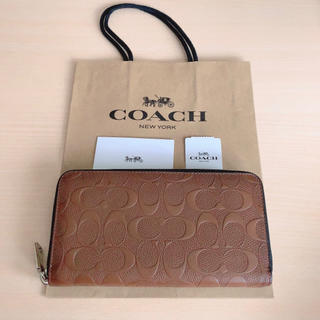 コーチ(COACH)の【新品】COACH 長財布 エンボス ブラウン レザー(長財布)