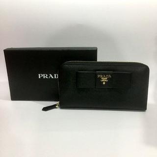 PRADA - プラダ ラウンドジッパー 長財布 リボンブラック