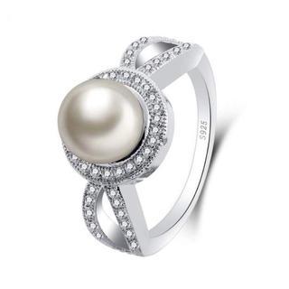 AAAランク ダイヤモンドcz パール リング 指輪(リング(指輪))