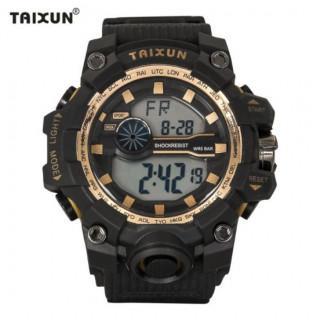 新品 送料無料 TAIXUN 腕時計☆デジタル多機能LEDブラック×ゴールド(腕時計(デジタル))