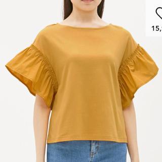 ジーユー(GU)の新品 コンビネーション フレアスリーブ Tシャツ イエロー(Tシャツ(半袖/袖なし))