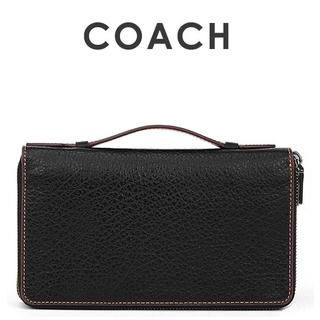 コーチ(COACH)の正規品保証 コーチ トラベル レザーラウンドファスナー長財布 新品(長財布)