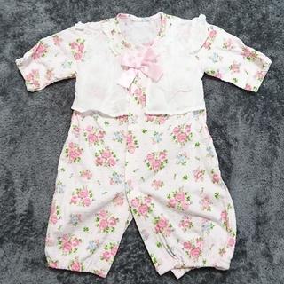 dafa4808e91ef ニシキベビー(Nishiki Baby)の2wayオール カバーオール ピンク 花柄 リボン 50~