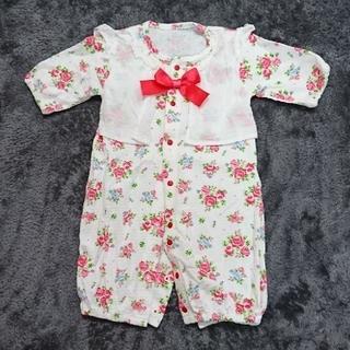 091253db7959b ニシキベビー(Nishiki Baby)の2wayオール カバーオール 花柄 赤 リボン 50~