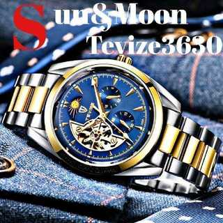Tevize3630 腕時計 メンズ ウォッチ ブルー&ゴールド ステンレス(腕時計(アナログ))