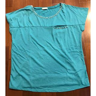 ジーユー(GU)のGU パールビジューTシャツ Lサイズ(Tシャツ(半袖/袖なし))