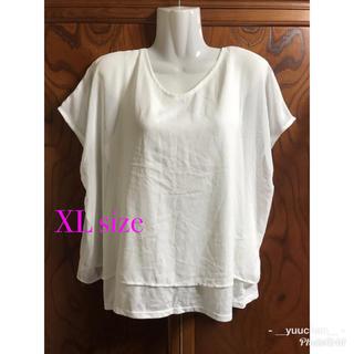 ジーユー(GU)のGU  シースルー重ね着風Tシャツ☆ XLサイズ(Tシャツ(半袖/袖なし))