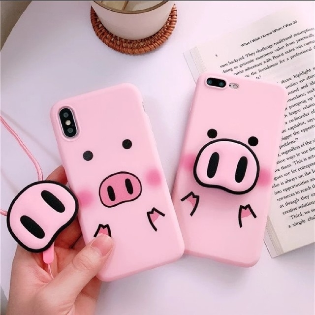 iPhoneケース XR ストラップ付き ぶた ピンク TPU 大人気の通販 by 1619@'s shop|ラクマ