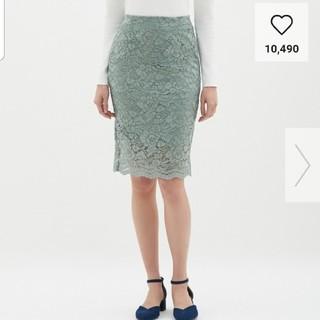 ジーユー(GU)のSサイズレースタイトスカート GU 新品タグ付 (ひざ丈スカート)
