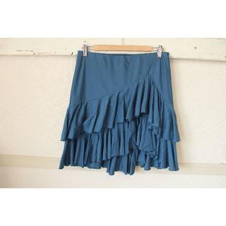 ラルフローレン(Ralph Lauren)のK318★ラルフローレン 大きいサイズ XLスカート ティアード青 綿(ひざ丈スカート)