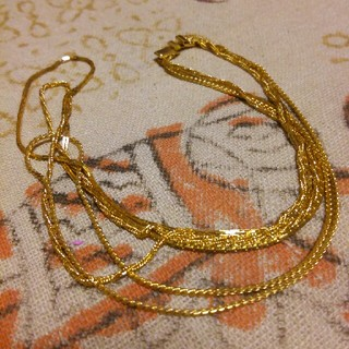 3連 ゴールドネックレス 豪華です♪(ネックレス)