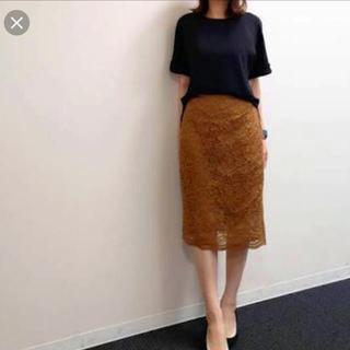 ジーユー(GU)のレースタイトスカート GU ブラウン(ひざ丈スカート)
