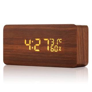 多機能 大音量 LED 木目置時計345