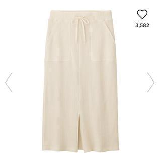 ジーユー(GU)のワッフルドローストリングナロースカート♡GU(ひざ丈スカート)