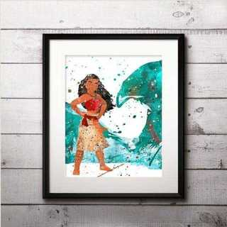 ディズニー(Disney)の日本未発売!モアナ(モアナと伝説の海)アートポスター【額縁つき・送料無料!】(ポスター)