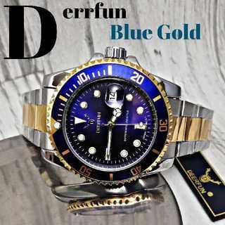 【海外限定】 DERRFUN552-3 腕時計 ウォッチ ブルー&ゴールド (腕時計(アナログ))