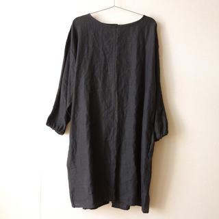 MUJI (無印良品) - 無印良品 リネン 割烹着 墨黒 定価3990円