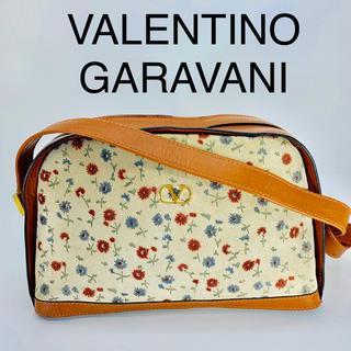 ヴァレンティノガラヴァーニ(valentino garavani)の美品 VALENTINO GARAVANI 花柄 スウェード ショルダーバッグ(ショルダーバッグ)