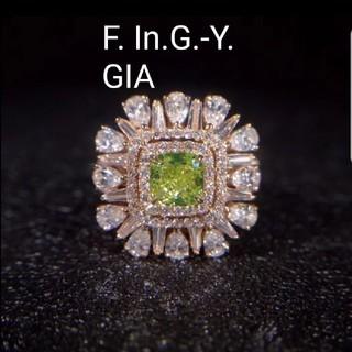 GIA♡Fancy In G yellowダイヤモンドリング&ネックレス(リング(指輪))